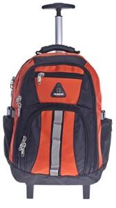 Schulranzen mit Rollen - Schultrolley Rucksack Trolley Schulrucksack Ranzen verschiedene Farben (schwarz-orange)